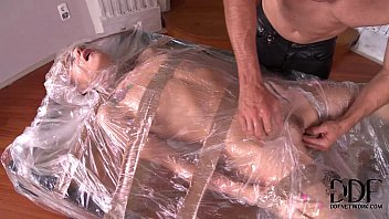 Plastic penis for flasher costume - Leyla black bound in plastic gets her mouth asshole used