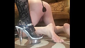 Sexy dominatrix spanking and pegging hubby with POV too!