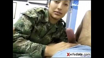 Korean solider girl licking his ball