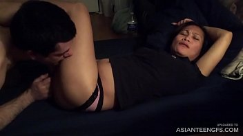 Asian woman gets licked hard by her foreign boyfriend