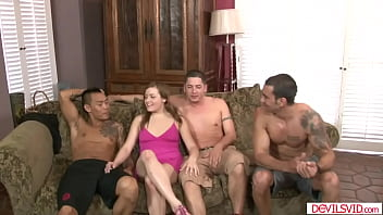 Guy and bffs double penetrate girlfriend