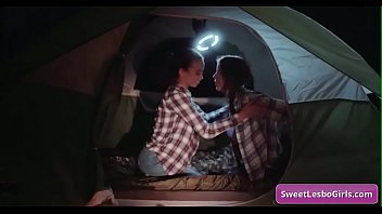 Sensual teen lesbian hot babes Gianna Dior, Shyla Jennings making out while camping at night in a tent