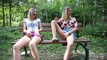 Blonde teens showing wet pussy in park thumbnail