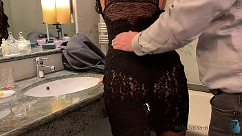 workmate sex after business dinner in sexy black dress