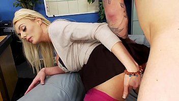 Boss fucks big boobs blonde hot MILF secretary hard and rough in the office