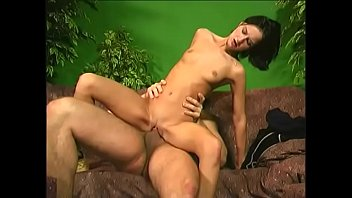 Sexy skinny brunette Patricie gives head and takes a hard cock on the couch