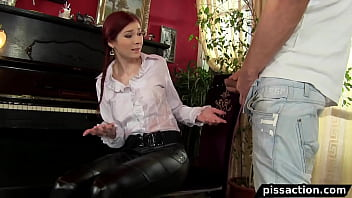 Girl gets cum shower Girl gets the piss fix by piano service man