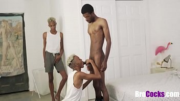 Gay twin brother video Ripped black bro fucks identical twins threesome- gay