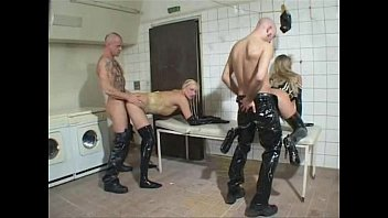 Vintage triumph leather German blondes ffmm 4some in laundry room