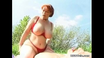 Horny fat slut got fucked badly outdoors