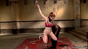 Master anal toys slave in fishnet socks