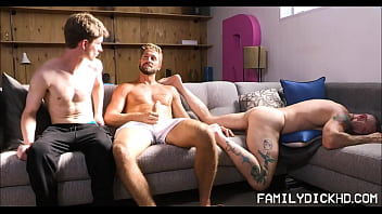 Gay dads fucking naked Jock and twink step brothers threesome with sleeping step dad