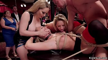 Hot blonde slaves are fucked in orgy