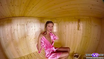 Horny Teen teases her pussy in a sauna
