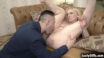 Grandma Nanney is horny right now, she her hot neighbor Mugur and begs him to fuck her vintage pussy.