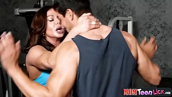 Teen saved from annoying guys and then licked by a gym MILF