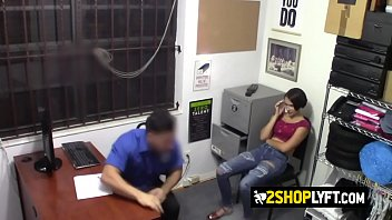 Horny officer is fucking with a petite teen thief at his own office.