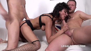 Victoriya Lusconi gets 2on1 Anal and DP with rough sex, manhandle, Facial GL044