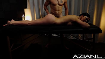 Sexy milf gets oil rub by fit younger guy