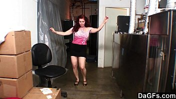 Busty Redhead Fucks Her Boss In The Storage Room