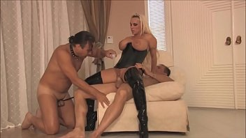 Female ohio swinger Busty dominant milf wife in latex loves cuckold sex with her husband