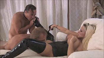 Busty dominant milf wife in latex loves cuckold sex with her husband Preview