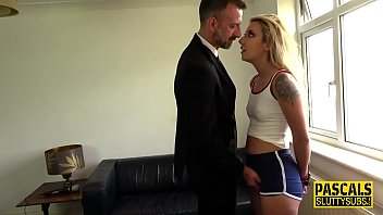 Handcuffed fetish blonde gets mouth fucked