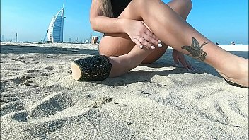 HONEY MAIAREMTHINKS EROTIC THOUGHTS AS SHE WALKS ON THE BEACH 7 min