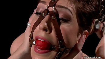 Slave is vibrated on device bondage