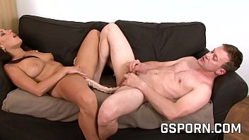 Couple with femdom play double dildo and strapon