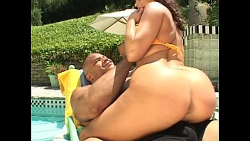 Geisha free Brunette pussy and ass fucked by pool
