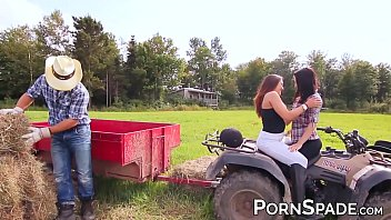Kinky amateur babes fed farmer cum in threesome banging