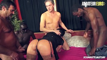 AMATEUR EURO - #Laura Rey - Italian Concierge Mature MILF Gangbanged By Four Horny Men