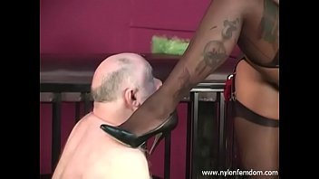 Ebony Nylon Mistress With Slave