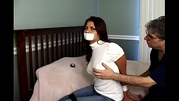 Being gagged naked tied up woman - Cali logan hogtied, gagged, fondled