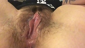 Hairy pussy white Rub my hairy clit and get my fingers wet