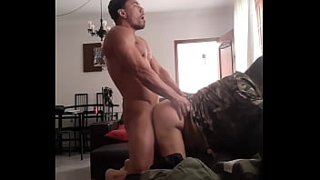 Military in uniform eats soldier outside the barracks