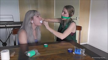 Two teen girls try gags