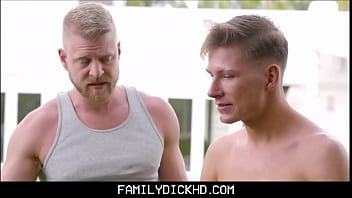 Boy dad gay man old young Blonde twink boy step son fucked by hunk step dad on family couch