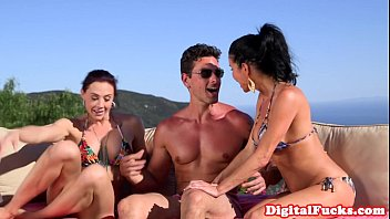 Glam bikini babes doggystyled in outdoor trio