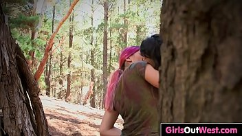 Girls Out West - Sexy lesbian hikers fuck outdoors