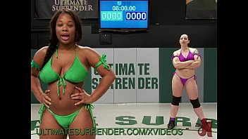 Surrender your cum Hot ebony babe gets fucked in the ring
