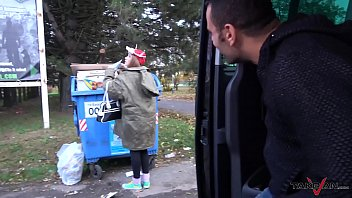 Garbage woman turn to super hot crazy mind blonde hungry for cock 29 min