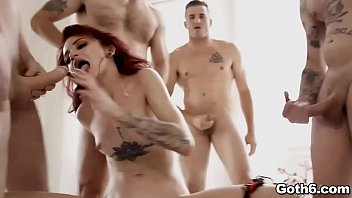 Get ready to witness an all out blowbang with this redhead cock hungry goth godess Lola Fae.