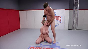 Big boob MILF Dee Williams mixed wrestling fight vs Jack Friday made to deepthroat his cock