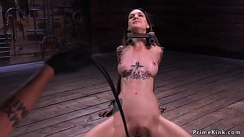 Alt slut in device bondage takes electricity