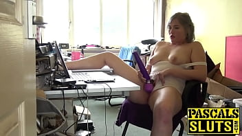 chubby blonde slut misha mayfair plays with her sex toy
