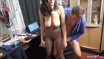 REAL GERMAN COUPLE with Teen with Hanging Saggy Tits FUCK AT AMATEUR PORN with Cum Swallow
