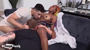 4 bisexual guys fucking one girl - Bisexual american latino cocks indulge as they share a sexy new babe