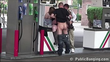 Pregnant girls fucking videos - Very pregnant woman is fucked in public sex threesome orgy at a gas station
